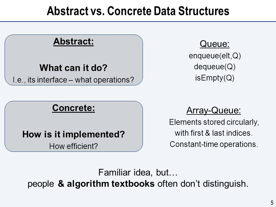 Abstract vs. Concrete Data Structures 5 Familiar idea, but… people & algorithm textbooks often don't distinguish. Abstract: What can it do? I.e., its