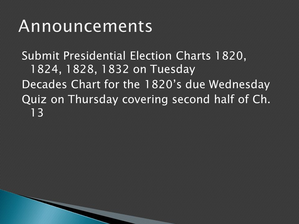 Submit Presidential Election Charts 1820, 1824, 1828, 1832 on Tuesday Decades Chart for the 1820's due Wednesday Quiz on Thursday covering second half
