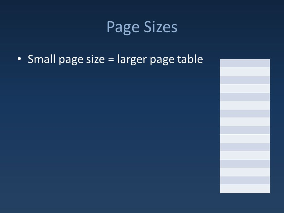 Page Sizes Small page size = larger page table