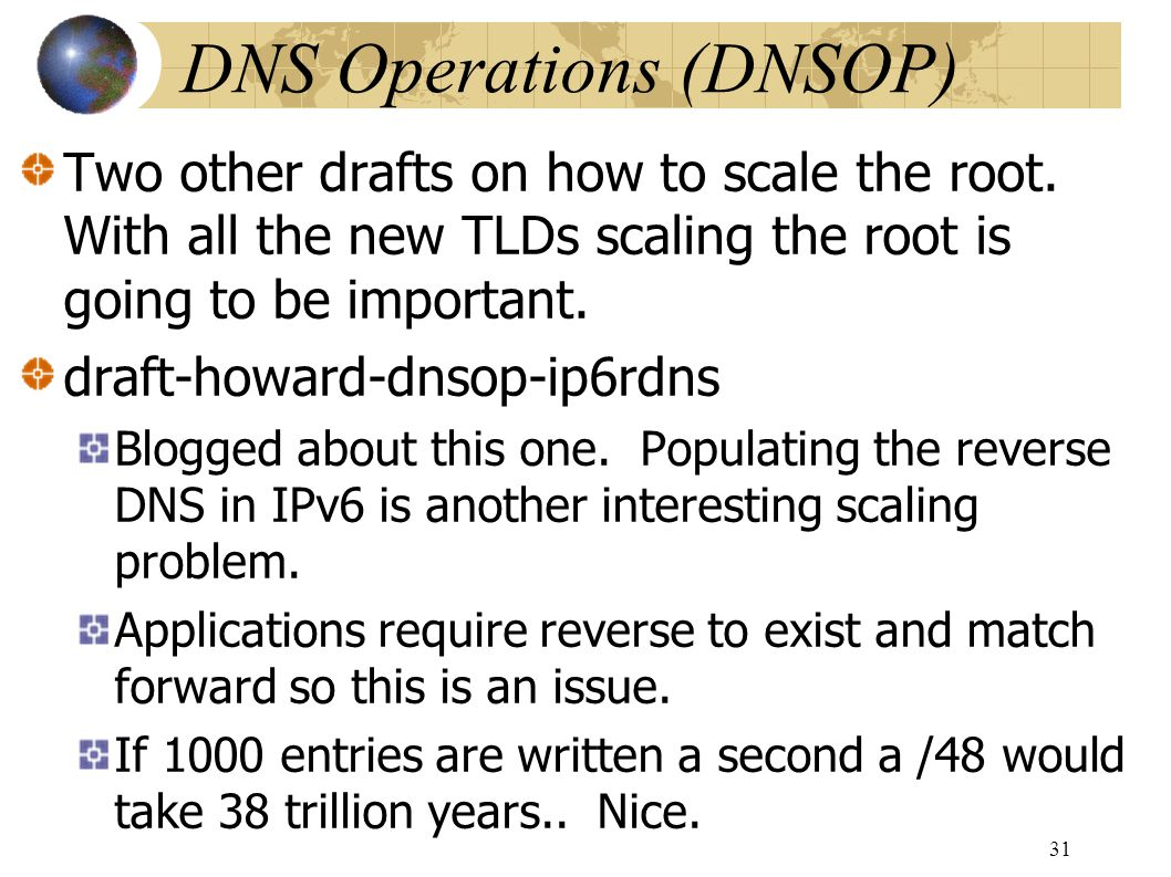 DNS Operations (DNSOP)‏ Two other drafts on how to scale the root.