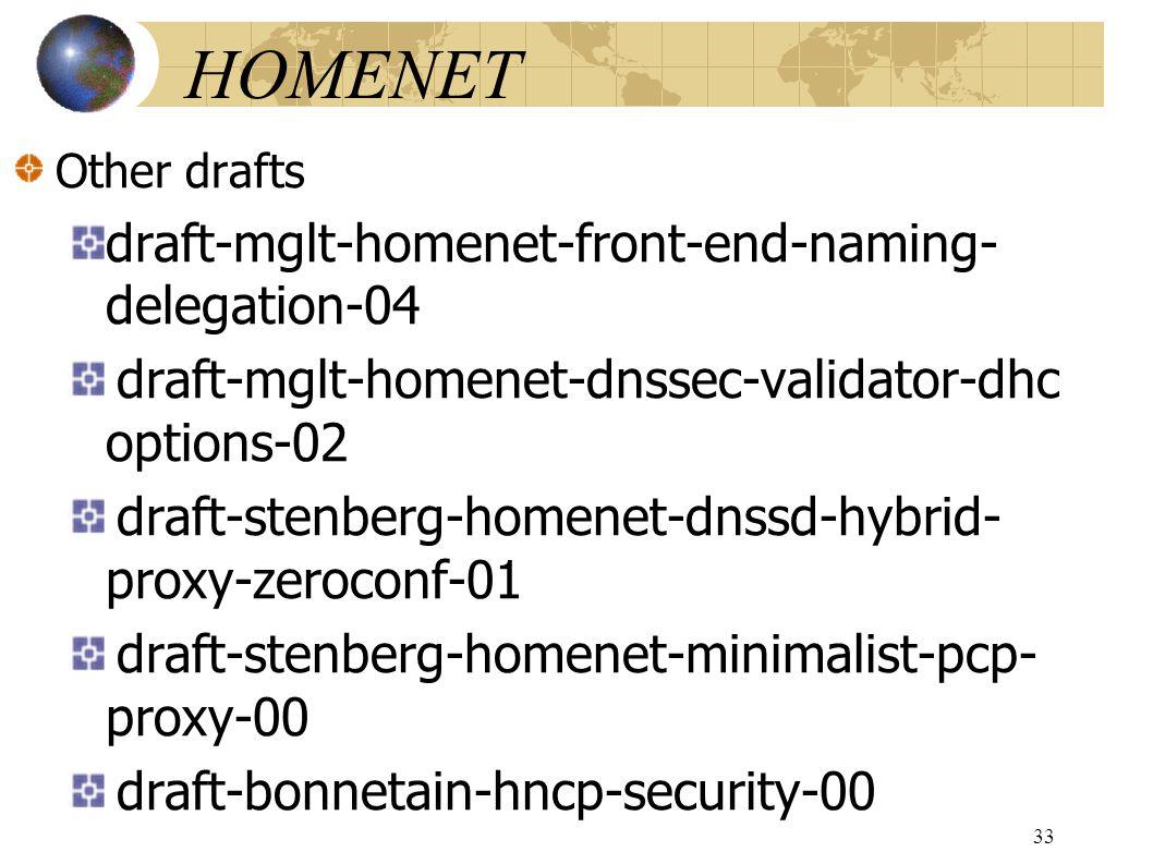 HOMENET Other drafts draft-mglt-homenet-front-end-naming- delegation-04 draft-mglt-homenet-dnssec-validator-dhc options-02 draft-stenberg-homenet-dnssd-hybrid- proxy-zeroconf-01 draft-stenberg-homenet-minimalist-pcp- proxy-00 draft-bonnetain-hncp-security-00 33