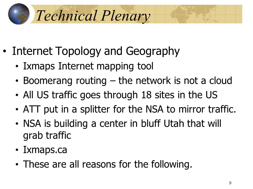Technical Plenary Jane Coffin from the Internet Society building internet exchange points.