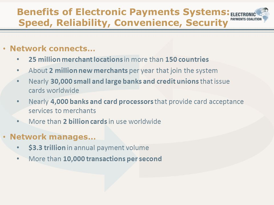Benefits of Electronic Payments Systems: Speed, Reliability, Convenience, Security Network connects… 25 million merchant locations in more than 150 countries About 2 million new merchants per year that join the system Nearly 30,000 small and large banks and credit unions that issue cards worldwide Nearly 4,000 banks and card processors that provide card acceptance services to merchants More than 2 billion cards in use worldwide Network manages… $3.3 trillion in annual payment volume More than 10,000 transactions per second