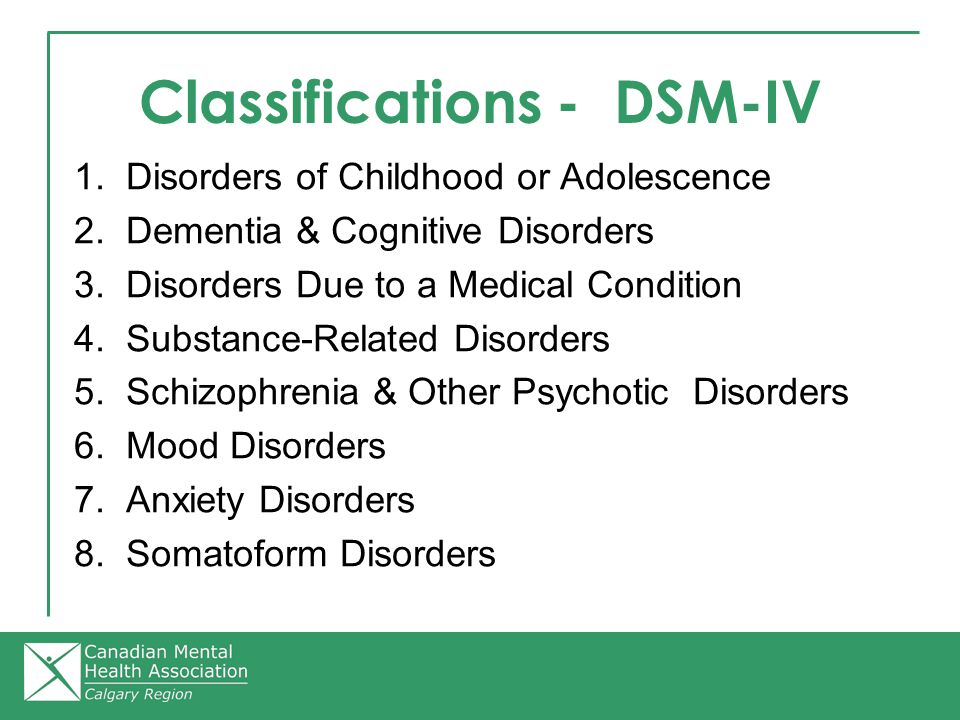 Classifications - DSM-IV 1. Disorders of Childhood or Adolescence 2.