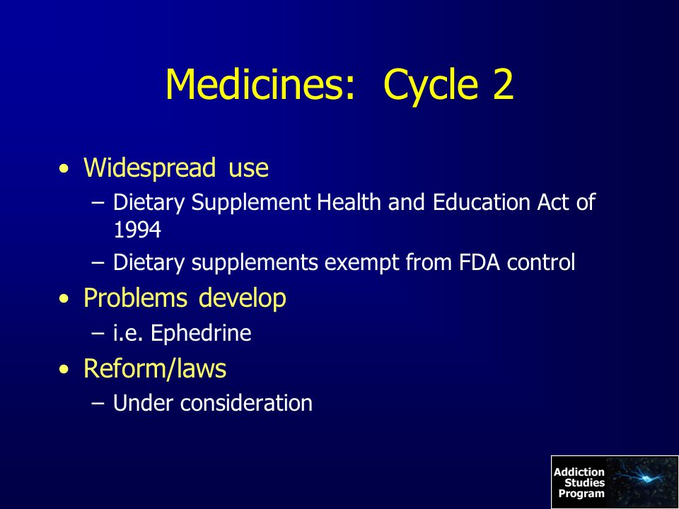 Medicines: Cycle 2 Widespread use –Dietary Supplement Health and Education Act of 1994 –Dietary supplements exempt from FDA control Problems develop –i.e.