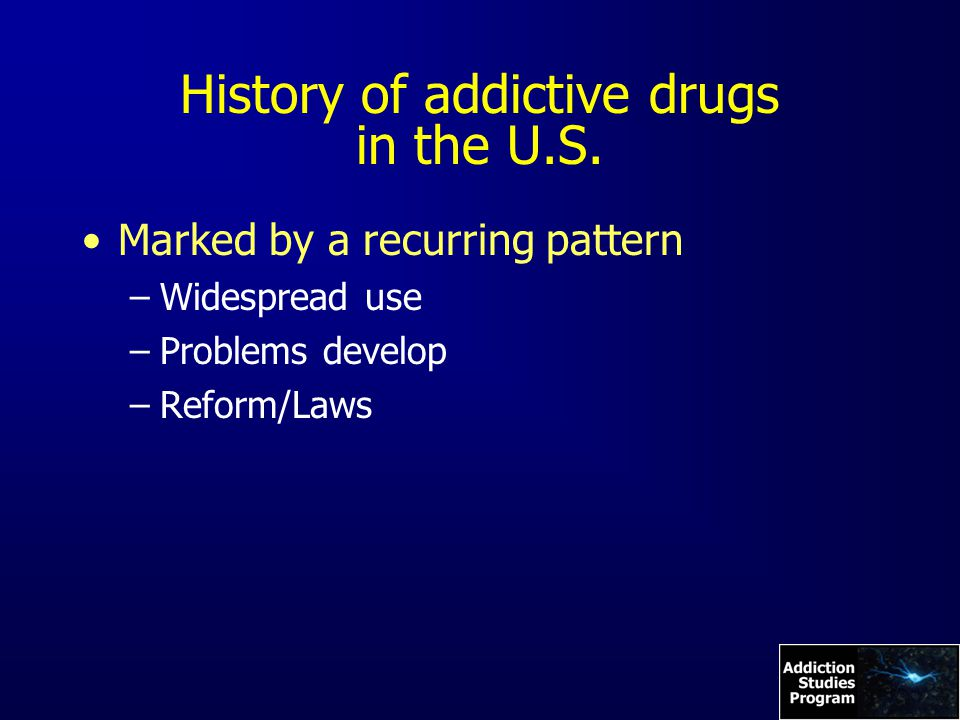 History of addictive drugs in the U.S.