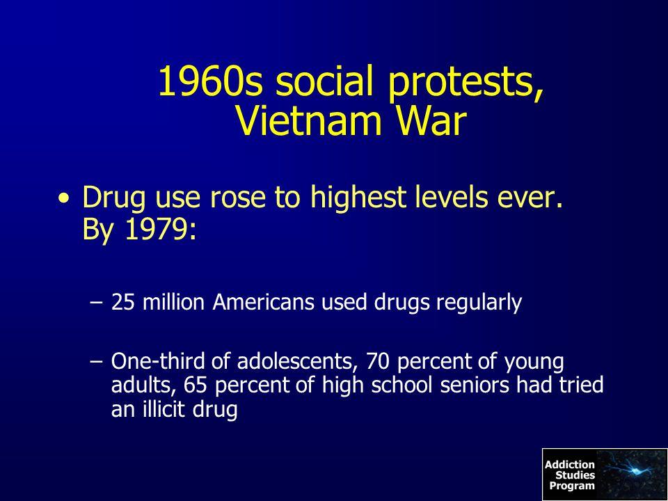 1960s social protests, Vietnam War Drug use rose to highest levels ever.