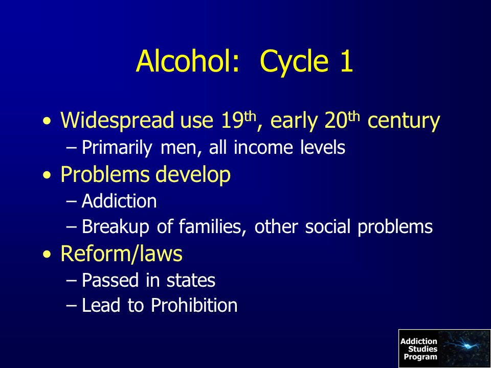 Alcohol: Cycle 1 Widespread use 19 th, early 20 th century –Primarily men, all income levels Problems develop –Addiction –Breakup of families, other social problems Reform/laws –Passed in states –Lead to Prohibition
