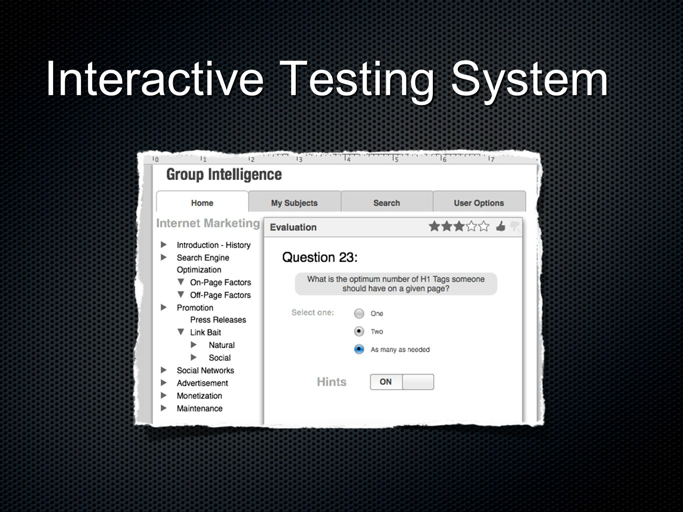 Interactive Testing System