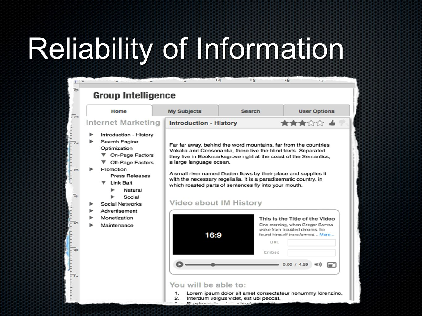 Reliability of Information