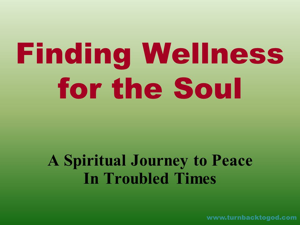 Finding Wellness for the Soul A Spiritual Journey to Peace In Troubled Times www.turnbacktogod.com