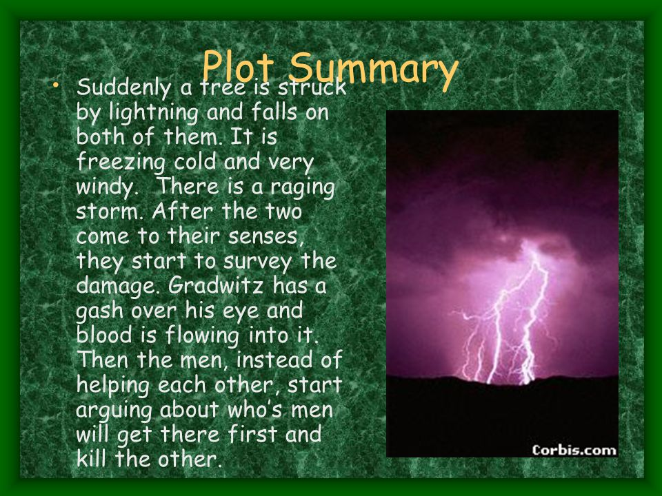 Plot Summary Suddenly a tree is struck by lightning and falls on both of them.
