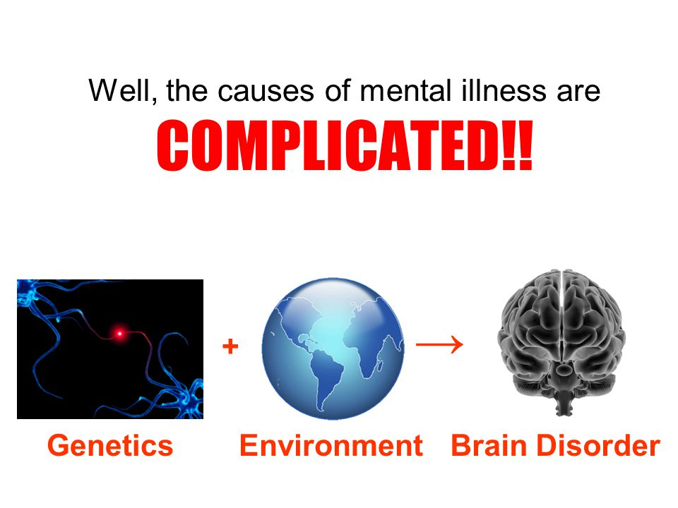 Well, the causes of mental illness are COMPLICATED!! GeneticsEnvironment + → Brain Disorder