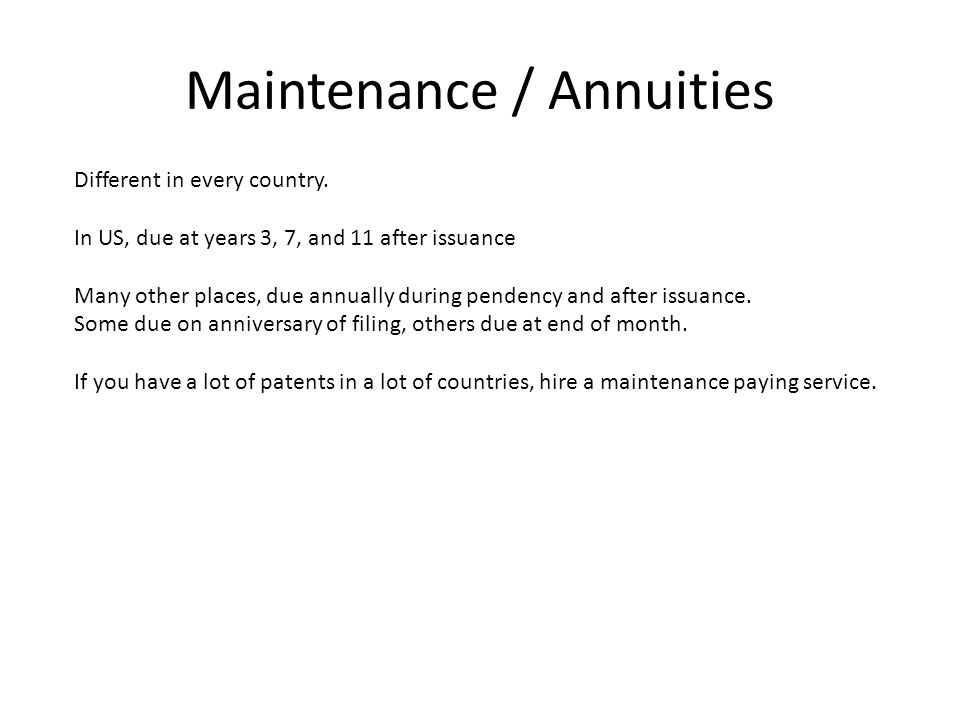 Maintenance / Annuities Different in every country.