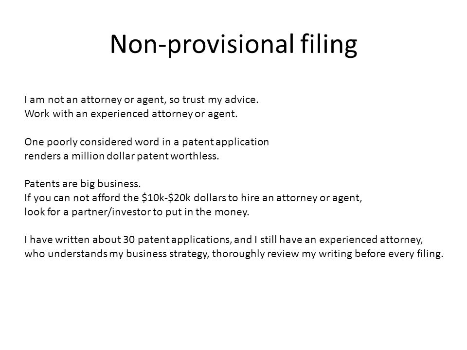 Non-provisional filing I am not an attorney or agent, so trust my advice.