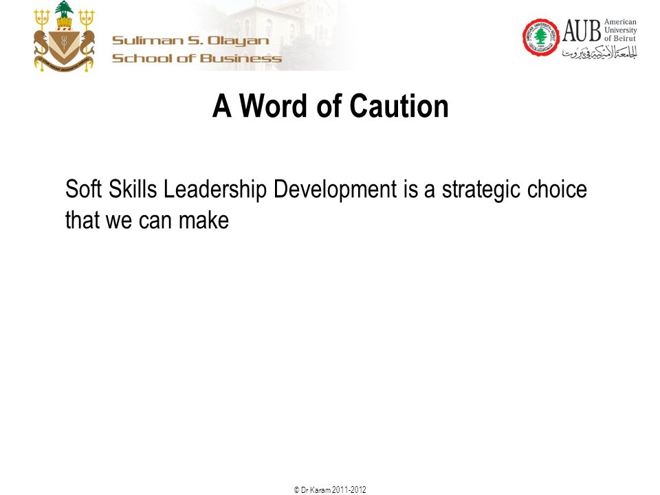© Dr Karam 2011-2012 A Word of Caution Soft Skills Leadership Development is a strategic choice that we can make