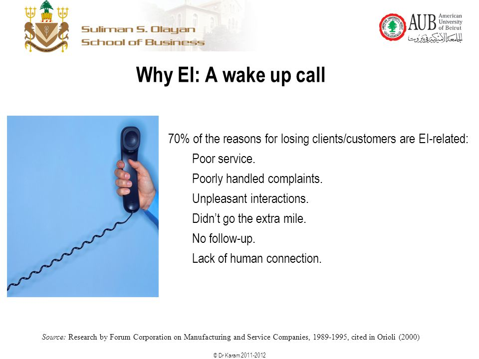 © Dr Karam 2011-2012 70% of the reasons for losing clients/customers are EI-related: Poor service. Poorly handled complaints. Unpleasant interactions.