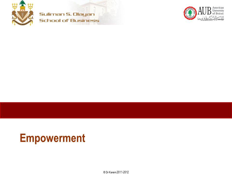 © Dr Karam 2011-2012 Empowerment