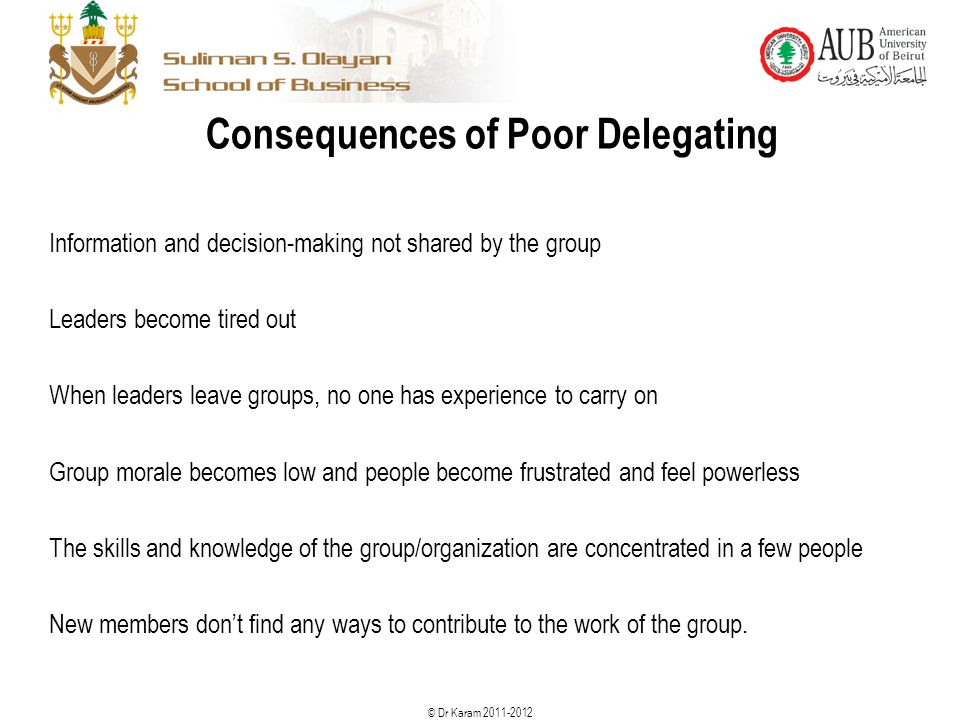 © Dr Karam 2011-2012 Consequences of Poor Delegating Information and decision-making not shared by the group Leaders become tired out When leaders lea