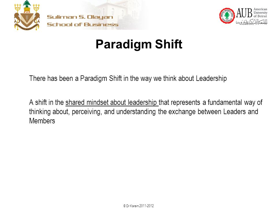 © Dr Karam 2011-2012 Paradigm Shift There has been a Paradigm Shift in the way we think about Leadership A shift in the shared mindset about leadershi
