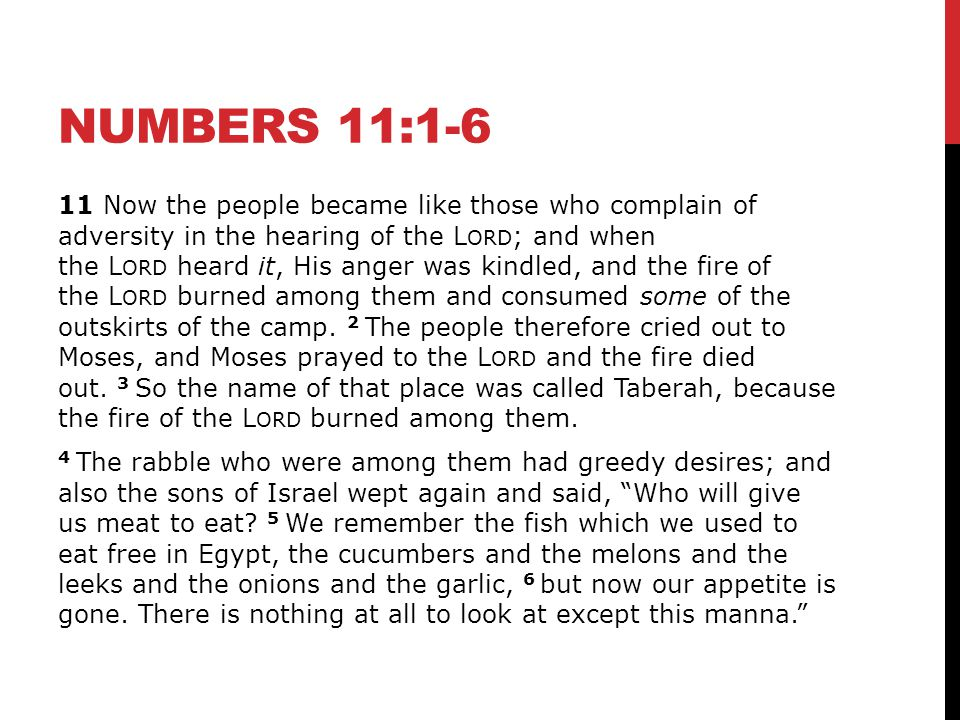 NUMBERS 11:1-6 11 Now the people became like those who complain of adversity in the hearing of the L ORD ; and when the L ORD heard it, His anger was kindled, and the fire of the L ORD burned among them and consumed some of the outskirts of the camp.