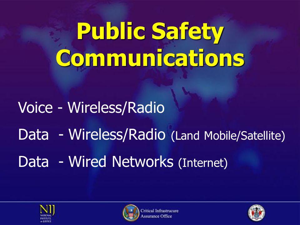 Public Safety Communications Voice - Wireless/Radio Data - Wireless/Radio (Land Mobile/Satellite) Data - Wired Networks (Internet)