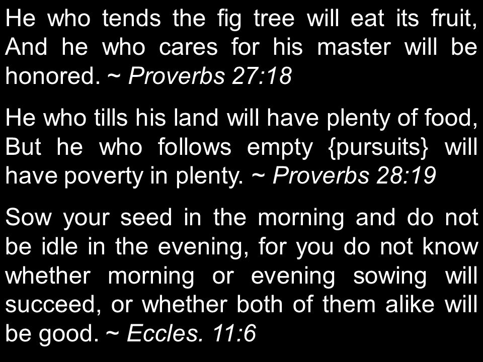 He who tends the fig tree will eat its fruit, And he who cares for his master will be honored. ~ Proverbs 27:18 He who tills his land will have plenty