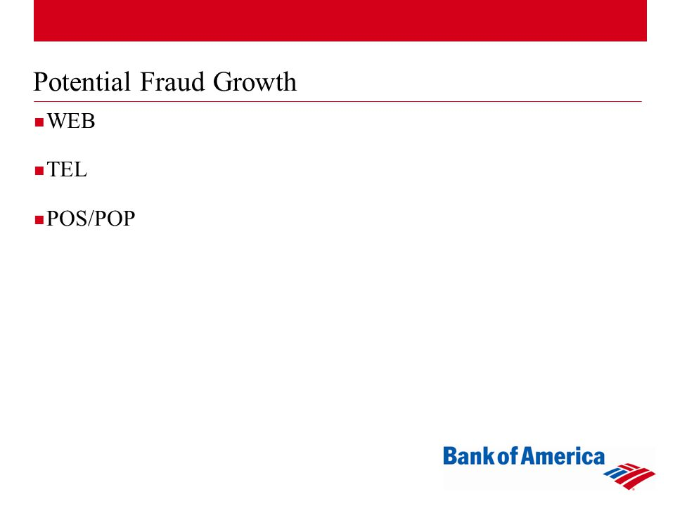 Potential Fraud Growth WEB TEL POS/POP