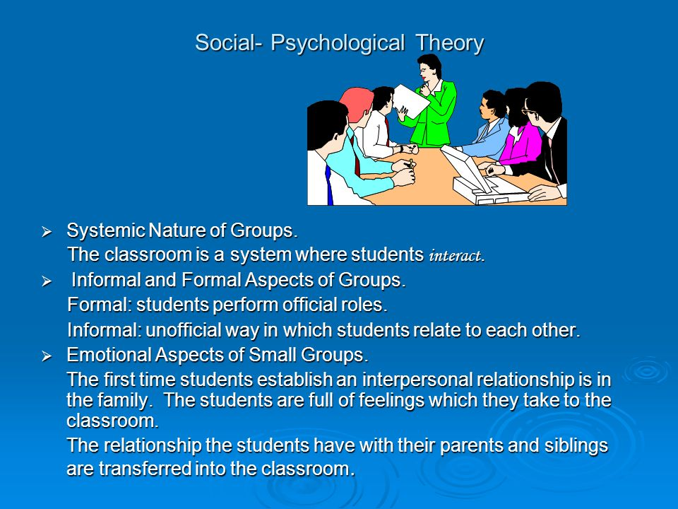 Social- Psychological Theory  Systemic Nature of Groups.