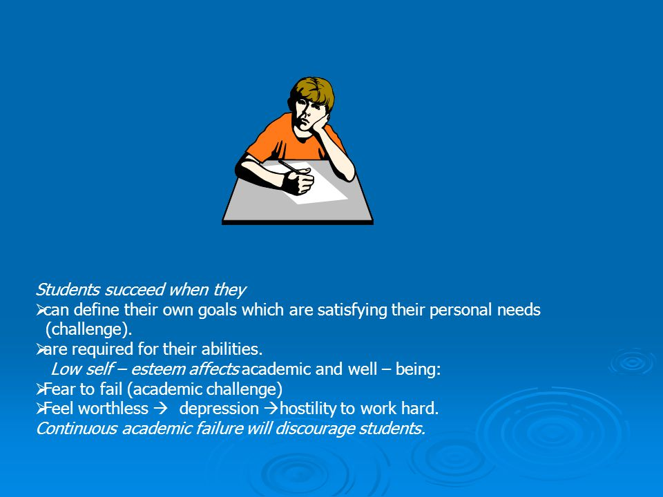 Students succeed when they  can define their own goals which are satisfying their personal needs (challenge).  are required for their abilities. Low