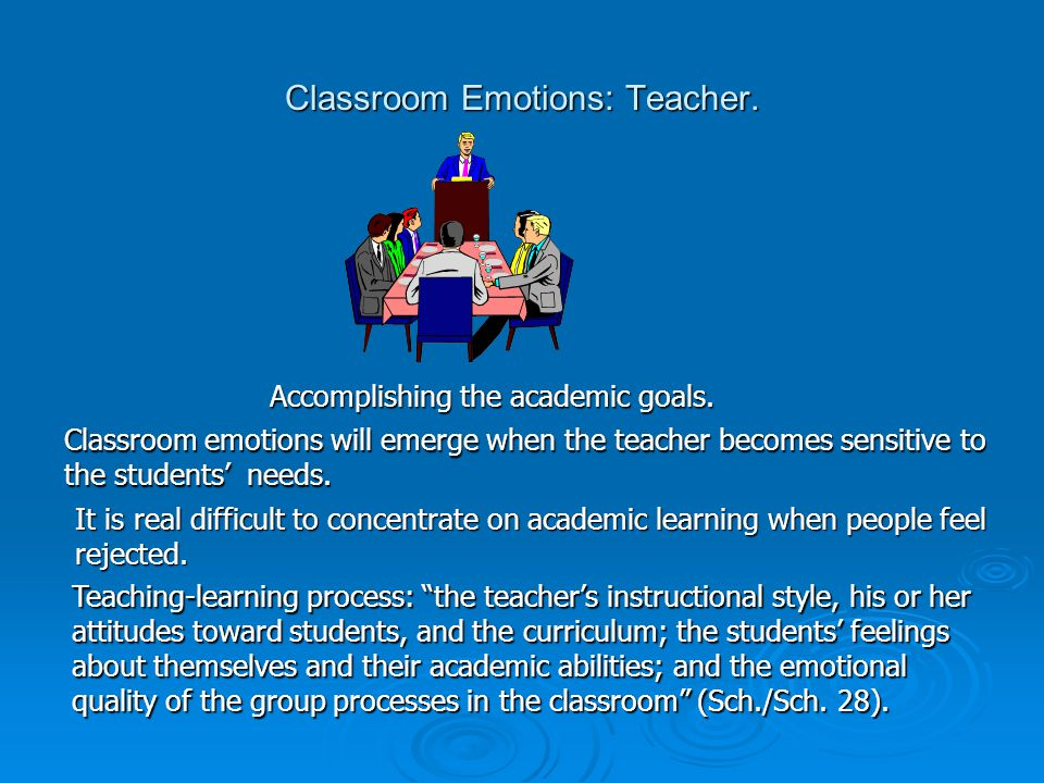 Classroom Emotions: Teacher. Accomplishing the academic goals.