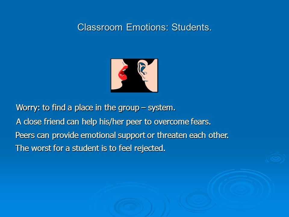 Classroom Emotions: Students. Worry: to find a place in the group – system.