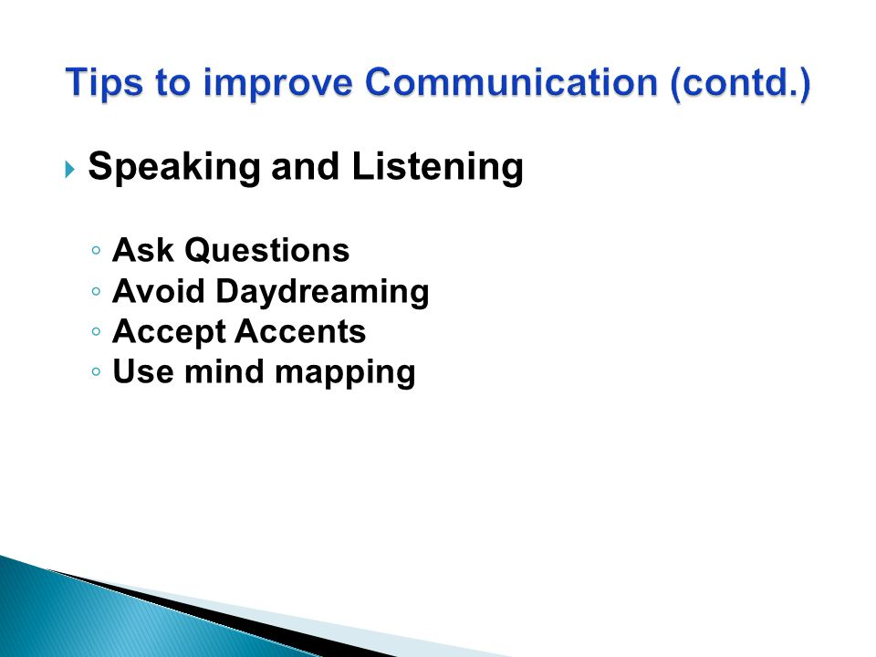  Speaking and Listening ◦ Ask Questions ◦ Avoid Daydreaming ◦ Accept Accents ◦ Use mind mapping
