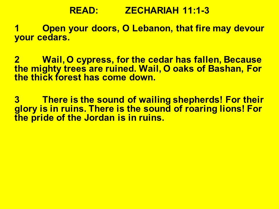 READ:ZECHARIAH 11:1-3 1Open your doors, O Lebanon, that fire may devour your cedars.