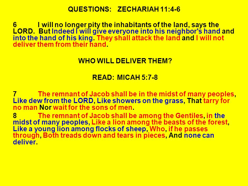 QUESTIONS:ZECHARIAH 11:4-6 6I will no longer pity the inhabitants of the land, says the LORD.