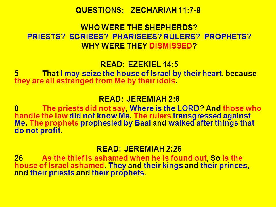 QUESTIONS:ZECHARIAH 11:7-9 WHO WERE THE SHEPHERDS.