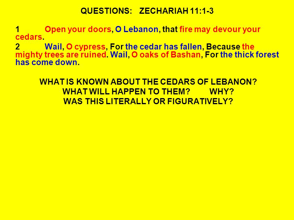 QUESTIONS:ZECHARIAH 11:1-3 1Open your doors, O Lebanon, that fire may devour your cedars.