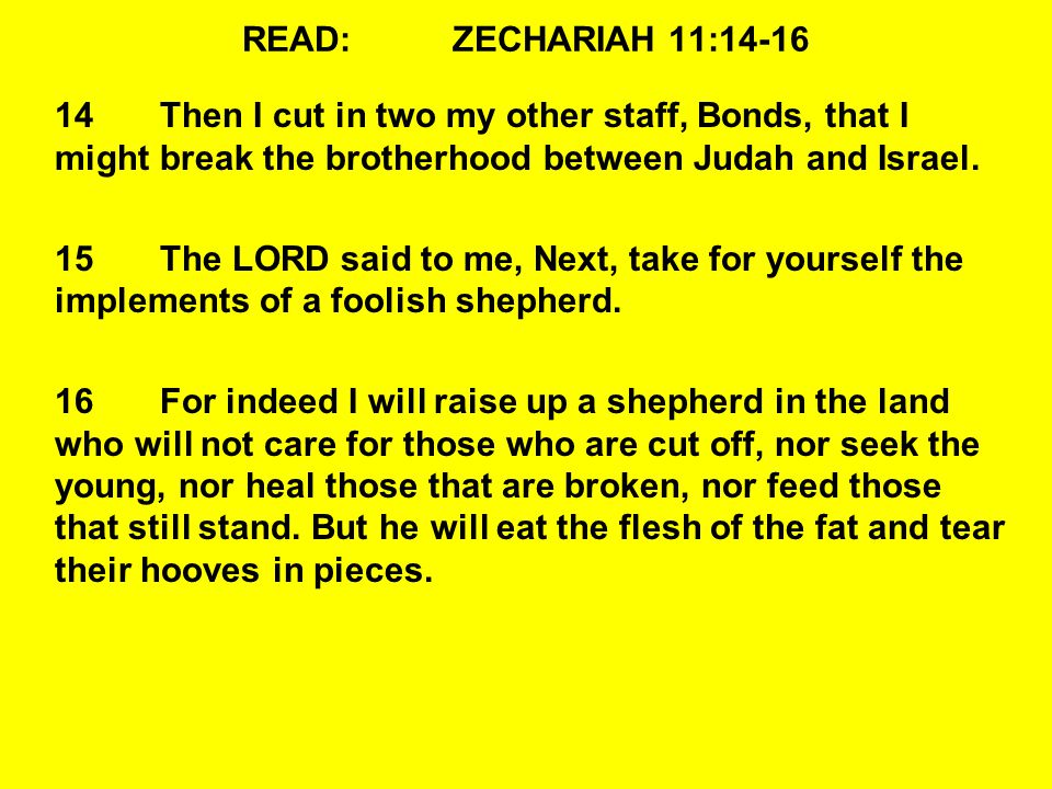 READ:ZECHARIAH 11:14-16 14Then I cut in two my other staff, Bonds, that I might break the brotherhood between Judah and Israel.