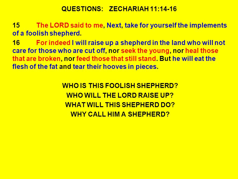 QUESTIONS:ZECHARIAH 11:14-16 15The LORD said to me, Next, take for yourself the implements of a foolish shepherd.