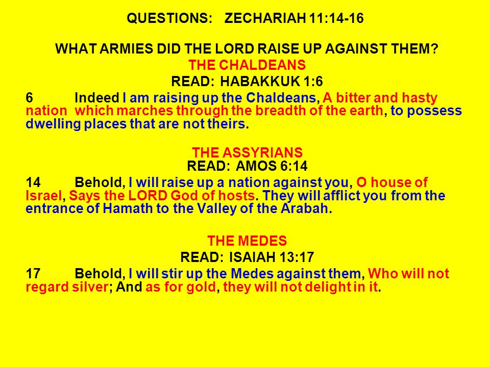 QUESTIONS:ZECHARIAH 11:14-16 WHAT ARMIES DID THE LORD RAISE UP AGAINST THEM.