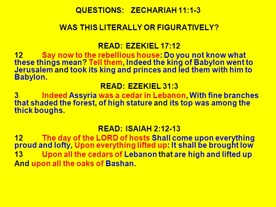 QUESTIONS:ZECHARIAH 11:1-3 WAS THIS LITERALLY OR FIGURATIVELY.