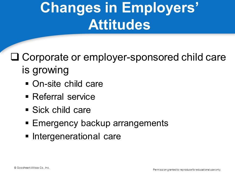 © Goodheart-Willcox Co., Inc. Permission granted to reproduce for educational use only. Changes in Employers' Attitudes  Corporate or employer-sponso