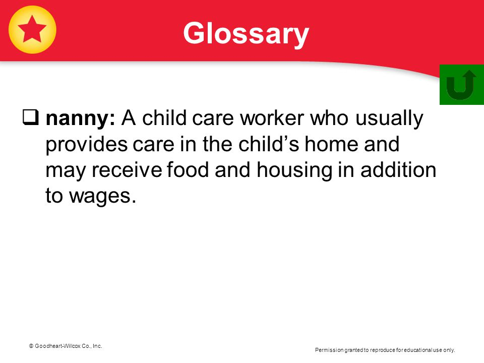 © Goodheart-Willcox Co., Inc. Permission granted to reproduce for educational use only. Glossary  nanny: A child care worker who usually provides car