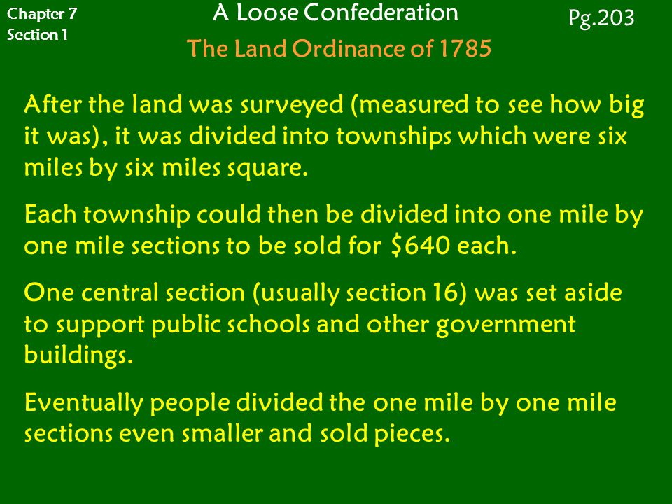 After the land was surveyed (measured to see how big it was), it was divided into townships which were six miles by six miles square. Each township co