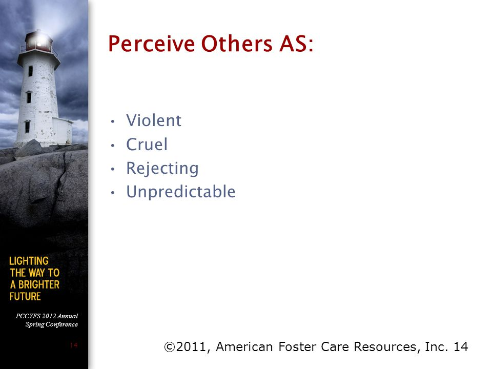 PCCYFS 2012 Annual Spring Conference 14 Perceive Others AS: Violent Cruel Rejecting Unpredictable ©2011, American Foster Care Resources, Inc. 14