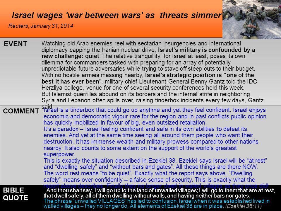 Israel wages 'war between wars' as threats simmer Watching old Arab enemies reel with sectarian insurgencies and international diplomacy capping the I