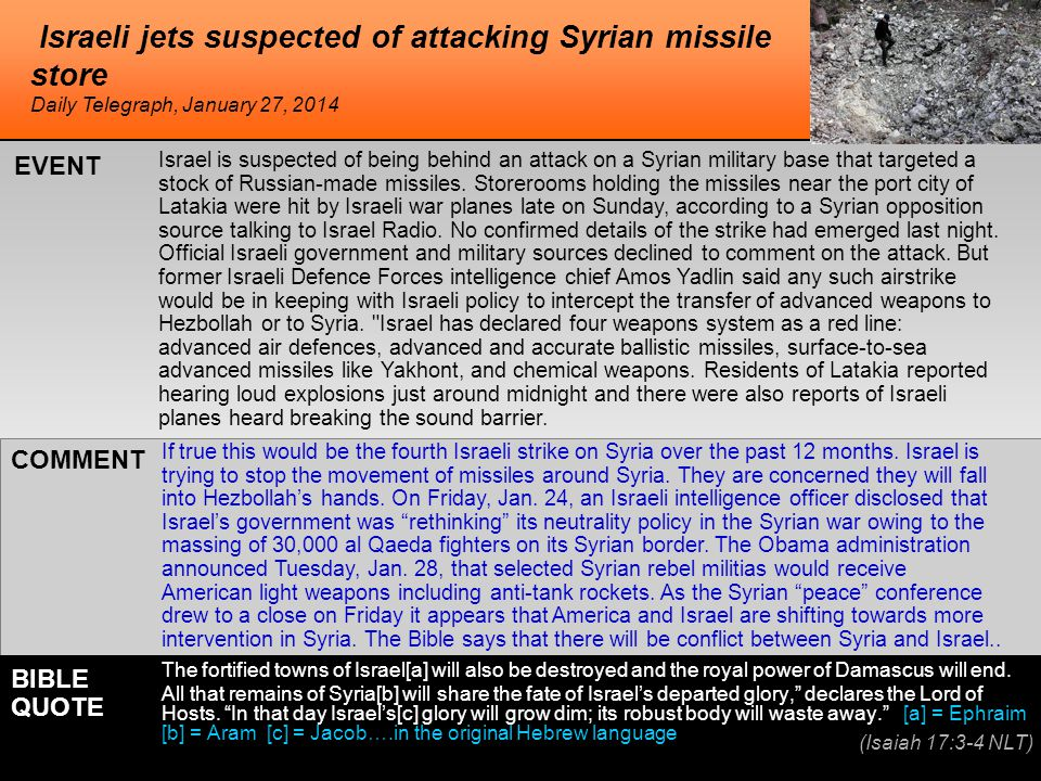 Israeli jets suspected of attacking Syrian missile store Israel is suspected of being behind an attack on a Syrian military base that targeted a stock