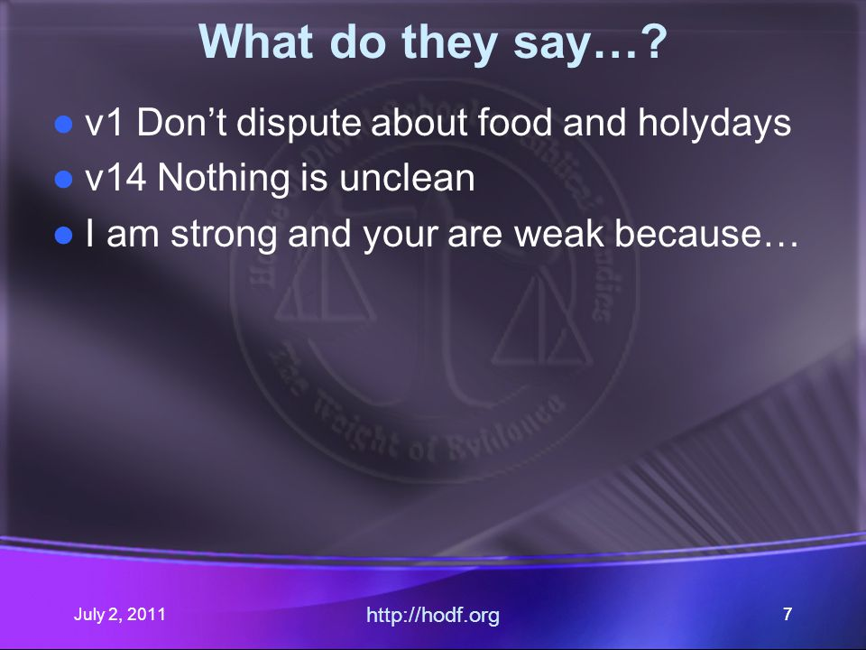 July 2, 2011 http://hodf.org 78 It's all GREEK to me… Clean  -> kaqa,rtou Unclean -> avkaqa,rtou Common -> koino.n Acts 10:14 But Peter said, Not so, Lord; for I have never eaten any thing that is common or unclean.