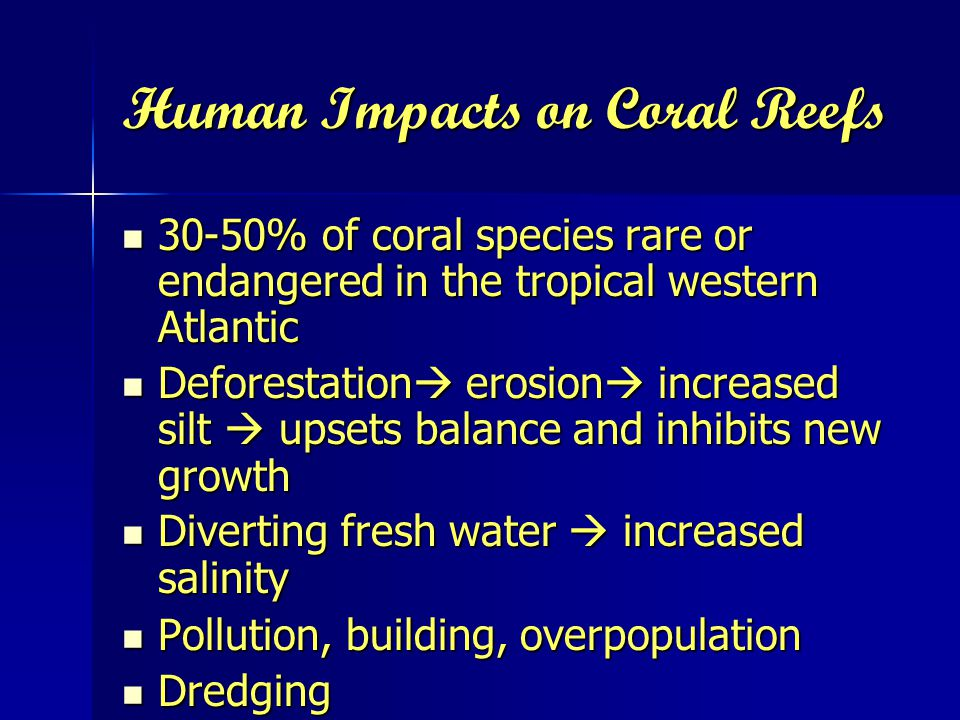 Human Impacts on Coral Reefs 30-50% of coral species rare or endangered in the tropical western Atlantic 30-50% of coral species rare or endangered in the tropical western Atlantic Deforestation  erosion  increased silt  upsets balance and inhibits new growth Deforestation  erosion  increased silt  upsets balance and inhibits new growth Diverting fresh water  increased salinity Diverting fresh water  increased salinity Pollution, building, overpopulation Pollution, building, overpopulation Dredging Dredging