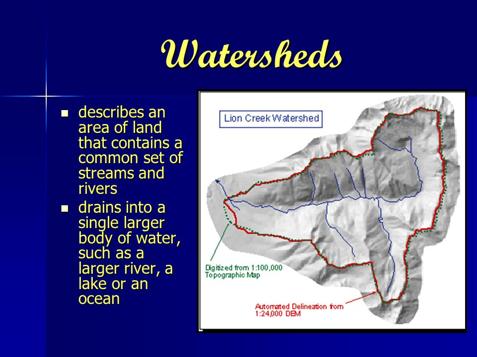 Watersheds describes an area of land that contains a common set of streams and rivers describes an area of land that contains a common set of streams and rivers drains into a single larger body of water, such as a larger river, a lake or an ocean drains into a single larger body of water, such as a larger river, a lake or an ocean